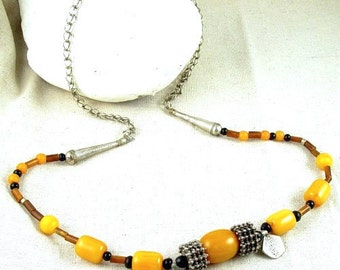 Yemen Old Granulated Silver Yemen Silver Coins Amber Resin Necklace