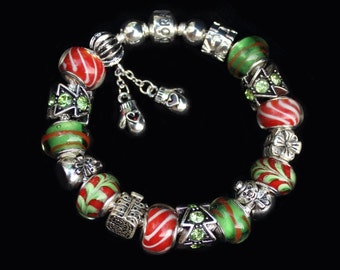 CANDY CANE and MITTENS - Genuine Pandora Bracelet with Red and Green European Style Beads