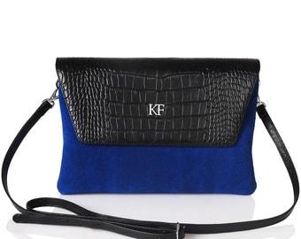 Leather Cross body Bag, Blue Leather Shoulder Bag, Women's Leather Crossbody Bag, Leather bag KF-277