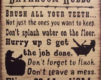 Western Bath Rules Primitive Rustic Country Wood Sign Home Decor