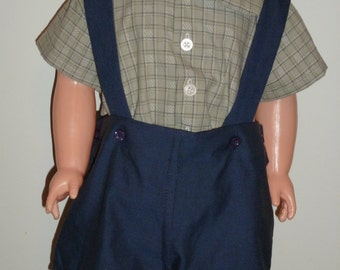 Green Plaid/Blue Suspender Shorts Set