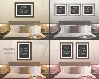 Bedroom Interior #3 Portrait & Landscape A4 A2 Frames Room Wall Interior, Set of 3 Square Frames, Wall Art Display Mockup PNG PSD Room stage
