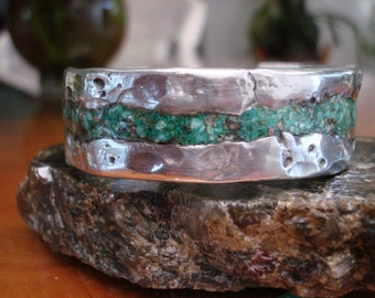 Turquise   Aluminum Cuff Bracelet. 3.5mm Thick .19.5mm wide. Turquise Inlay.