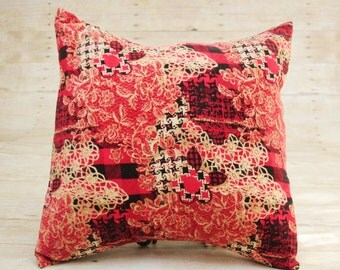 corduroy houndstooth and floral print pillowcover