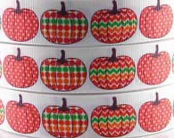 Chevron Pumpkins Ribbon | Grosgrain Ribbon | 7/8 inch Ribbon | Fall Ribbon | Thanksgiving Ribbon |