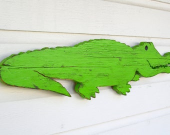"Wooden Alligator Small Hand Made Wood Wooden Hand Painted Alligator Gator Crocodile Croc Wall Sign Decor Shabby 24""  wide by 6.75"" high"