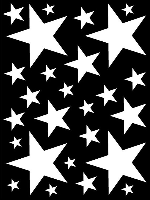 52 White Vinyl Star Shaped Bedroom Wall Decals Stickers Teen Kids Baby Nursery Dorm Room Removable Custom Made Easy to Install