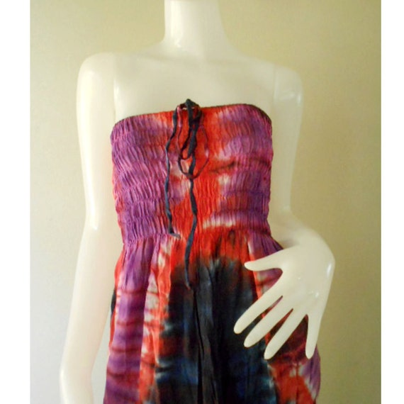 Plus size 2 in 1 Boho Hippie 100 % tie dye cotton smock tube dress maxi summer sundress comfy beach casual dress long skirt (TD 114)
