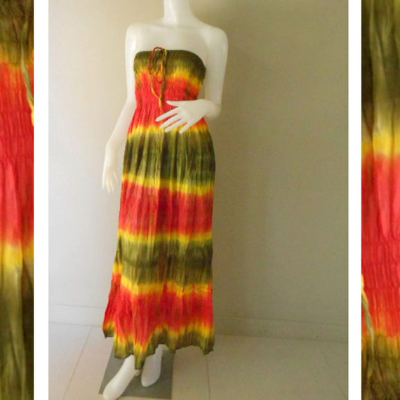 Plus size 2 in 1 Boho Hippie 100 % tie dye cotton smock tube dress maxi summer sundress comfy beach casual dress long skirt (TD 120 )