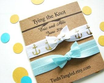 Nautical Beach Wedding, FOE, Bridesmaid Gift, Elastic Hair Ties, Wedding Favors, Creaseless Hair Ties, Bridal Shower Favors, Personalized