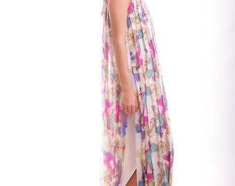 FREE US SHIPPING Vintage Elusive Snobbish Beauty Sheer Silk Butterfly Maxi Dress