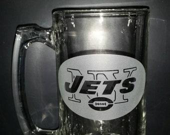 NY Jets Sand Carved Glass Sport Mug