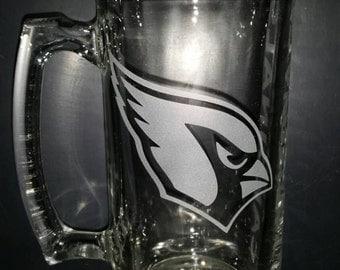 Arizona Cardinals Sand Carved Glass Sport Mug 26.5oz