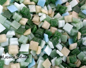 500pc Mosaic Vitreous Tiles - 10x10mm Forest Green