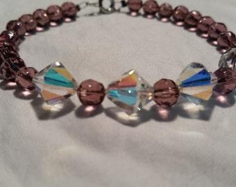 Purple with White iridescent glass beaded bracelet