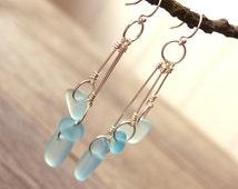 Sea glass earrings, blue, turquoise, long trio dangle drop earrings, sterling silver, French-style ear wires