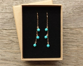 Turquoise earrings, natural turquoise dangle earrings, sterling silver, 14K gold filled