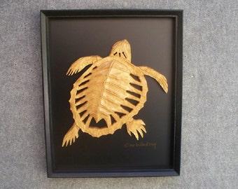 Ancient Skeletal Turtle Framed Wall Sculpture