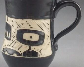 Handmade Black and White Robot Mug