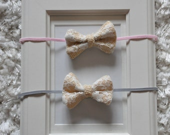 Set of 2 Baby Bow Elastic Headbands