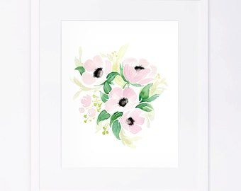Pink Poppies Watercolor Flower Bouquet Print