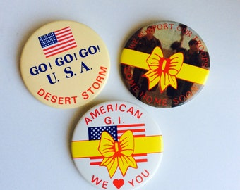 Vintage US Military Buttons - Operation Desert Storm - GI Pinback Buttons, Support American G.I. We Love You, Yellow Ribbon Button Pin