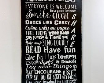 Playroom rules sign kids sign