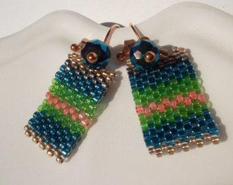 Hanging earrings Dangle earrings beadwoven earrings Peyote gold plated Toho Beads