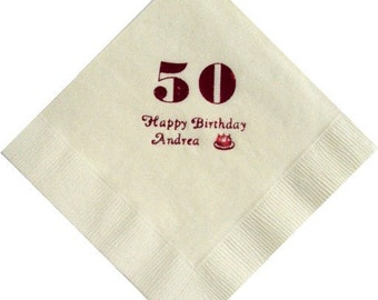 50 Personalized Beverage Napkins with any age