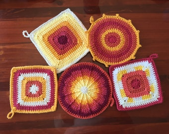 Set of 5, Red and Yellow Hot Pads