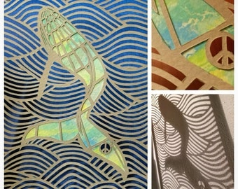Whale paperart - Humpback whale papercut - with watercolour