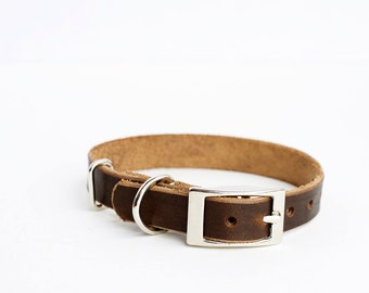 Dog Collar, Leather Dog Collar, Personalized Leather Dog Collar, Horween Leather Dog Collar, Brown Collar