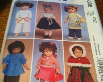 Mccalls crafts pattern m6006 for doll clothes for 18 inch dolls