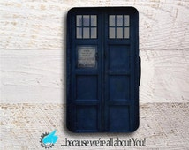 Samsung Note Wallet Phone Case -Doctor Who Tardis Door-for Samsung Note 3 Note 4 or Note 5 -Can add Monogram, or Name!