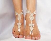 bridal anklet, raw slik color ivory frame Beach wedding barefoot sandals, bangle, wedding anklet, free ship, anklet, bridal, wedding