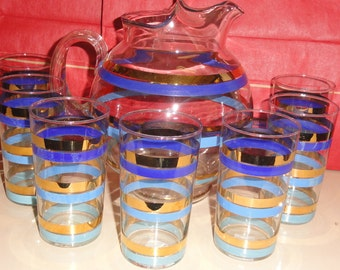 Mid Century Shades Of Blue Blue & Gold Color Striped Ball Pitcher With 7 Drinking Glasses