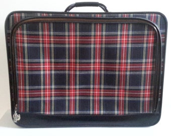 Vintage Large Plaid Suitcase.