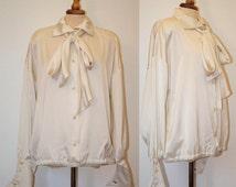 Christian Dior 1980s silk shirt / White bow neck shirt / genuine french / pure silk satin blouse