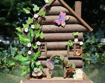 Magical Miniature Rustic Log Cabin Fairy Dwelling