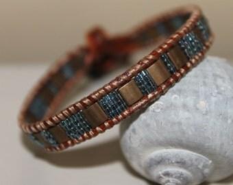 Leather single Wrap bracelet ,Gemstone,Miyuki beads
