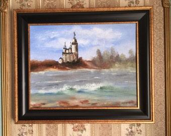 """WHITE CASTLE original oil painting 11""""x14"""", framed"""