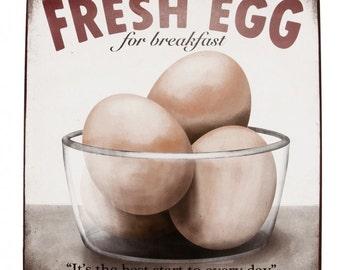 Fresh Egg For Breakfast Vintage enamelled sign