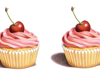 Temporary Tattoo - Set of 2 Cupcakes Series