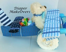 Airplane Diaper Cake - Unique Diaper Cake - Unique Baby Shower Gift or Centerpiece - Baby Boy, Baby Girl, Neutral Baby Gift
