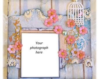 """Floral scrapbook mini album 4""""x4"""""""