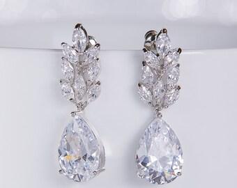 Wedding Earrings Zirconia Earrings Wedding Jewelry Bridesmaid Earrings Bridesmaid Accessories Dangling Teardrop Earrings stl146