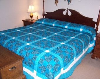 California King Blue Teal White Bedding Quilt Hearth and Home               All of my quilts will be 20% off through Sept.  30 ,2017