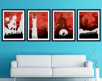 The Lord of the Rings Trilogy poster set. The fellowship of the ring, Two Towers, Return of the king, The Hobbit.