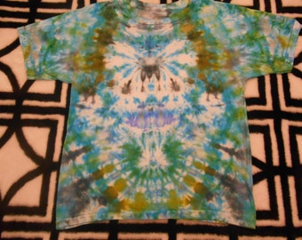 hand dyed, tie dye, ice dyed, psychedelic tie dye, boys shirt size 12, hippie shirt