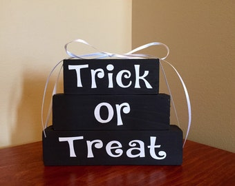 Trick Or Treat Mini Wood Block Stacker Set Halloween Decor Fall Gift Idea